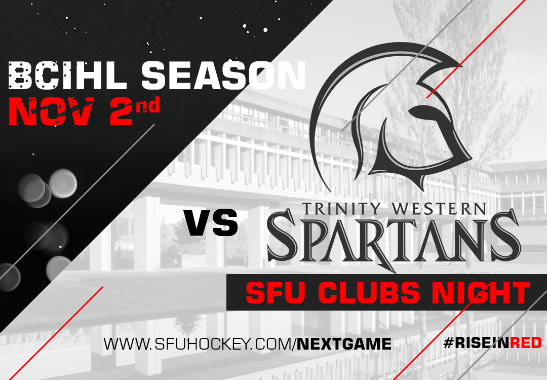SFU hosts reigning BCIHL champs TWU on Nov 2nd