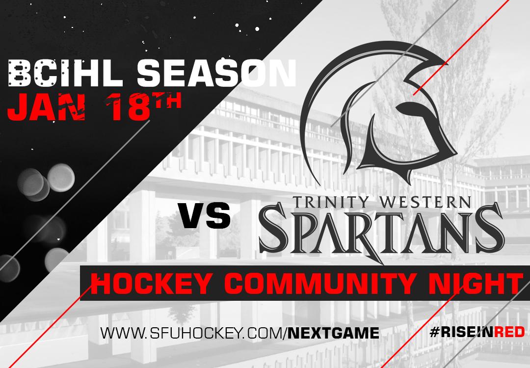 SFU hosts TWU on January 18th for Hockey Community Night